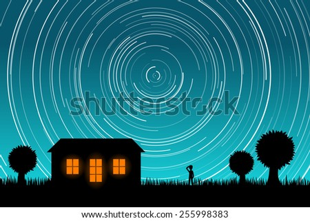 Man Staring at Star Trails in the Night Sky. EPS10 vector