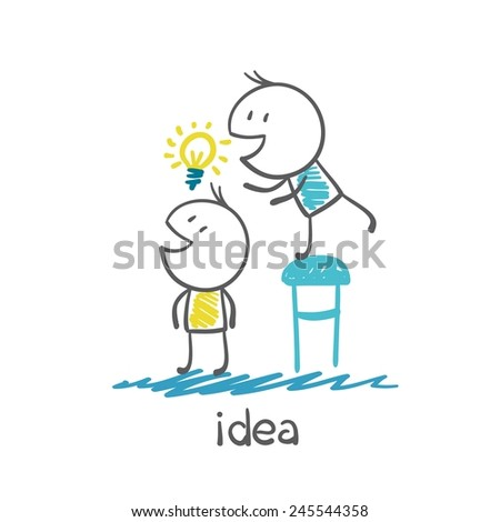 man steals another person's idea-bulb illustration - stock vector