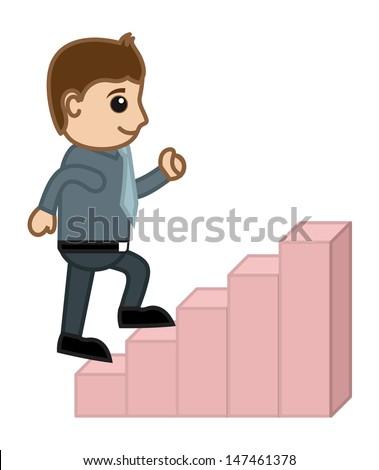 Man Stepping Up - Business Cartoon Character Vector - stock vector