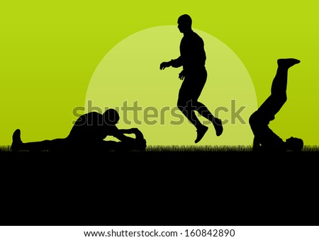 Man stretching exercise warming up vector background