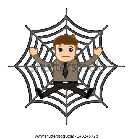Man Stuck in Spider Web - Business Cartoon Characters - stock vector