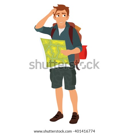 man studying a map in the campaign. traveler with a map. traveler in nature. vector illustration.