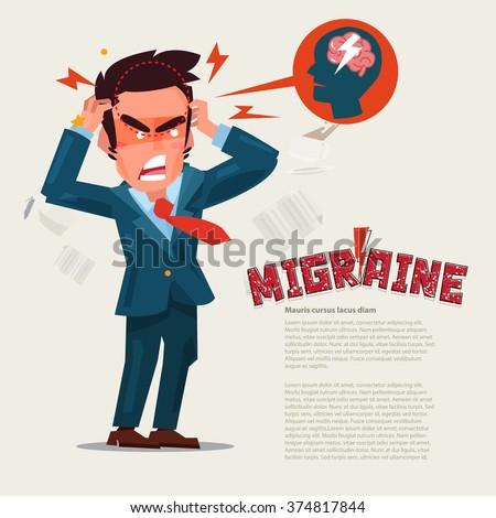 Man suffering Headache and migraine in pain. character design. migraine concept. typographic for header design - vector illustration - stock vector