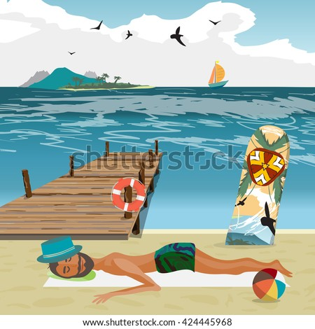 Man sunbathes on the beach after a day on surfing. Sea landscape summer beach, surfboard stuck in the sand. Wooden pier on the beach in hot summer day. Vector flat cartoon illustration - stock vector