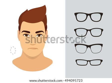 Man Sunglasses Shapes Oval Man Face Stock Vector 494095723 ...