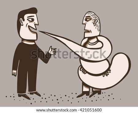 Man surrounded by the speech of another - stock vector