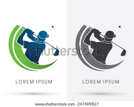 Man swinging golf , Golf players club, logo, symbol, icon, graphic, vector.