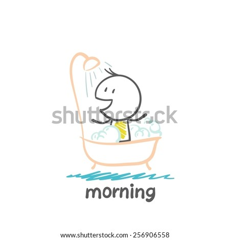 man taking a shower in the morning illustration - stock vector