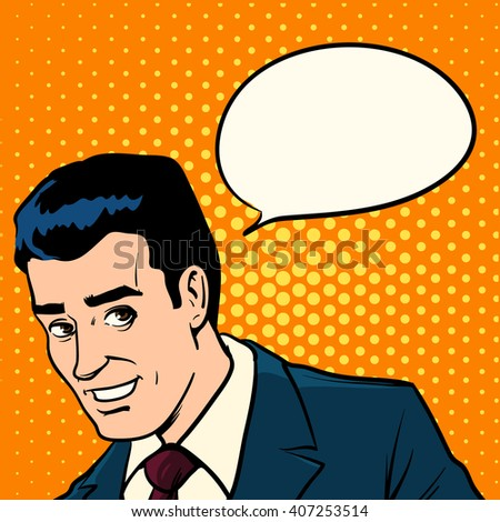 man talking about something interesting, businessman, office, poster, concept, pop art, retro style, vector illustration - stock vector