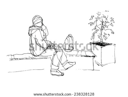 man talking on the phone and sitting on the bench in the mall - stock vector