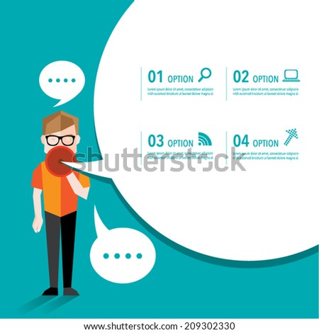 Man talking using megaphone vector design - stock vector