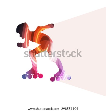Man, teenage boy driving with inline skates, skating vector background colorful concept made of transparent curved shapes - stock vector