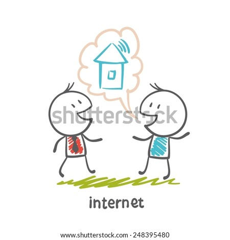 man tells about the Internet in the house illustration - stock vector