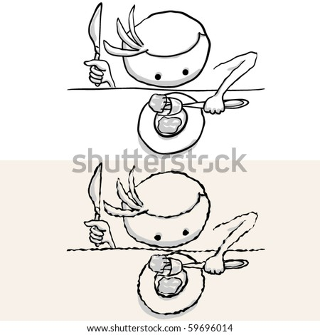 man that throw oneself on food. rough and smooth - stock vector
