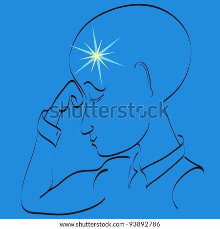 Man thinking - stock vector