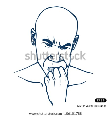 Man thinking about a problem. Hand drawn sketch illustration isolated on white background - stock vector