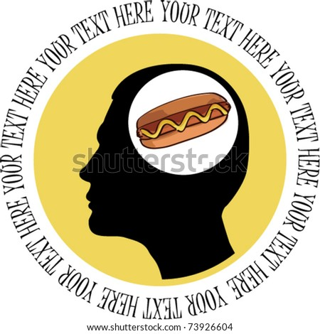 Man thinking about hot dog - card with place for your text. Vector illustration. - stock vector
