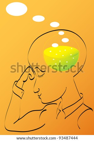 Man thinking. Chemical reaction of a birth of idea - stock vector