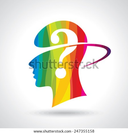 Man thinking many question. brain idea - stock vector
