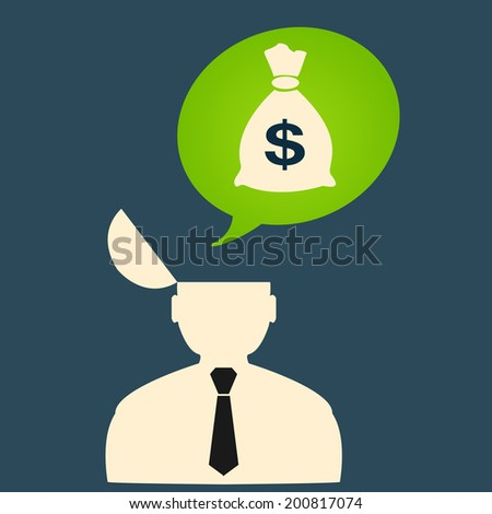 Man thinks about big money. - stock vector