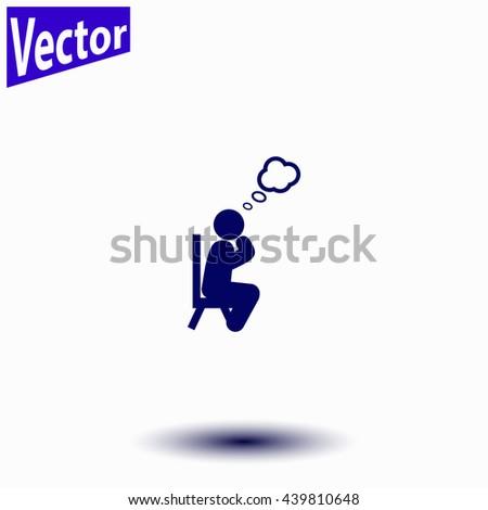 Man thinks icon. Man thinks icon vector. - stock vector