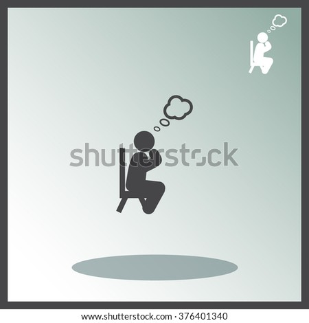 Man thinks vector icon. - stock vector