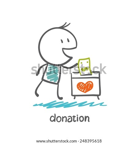 man throws money in a box with hearts illustration - stock vector