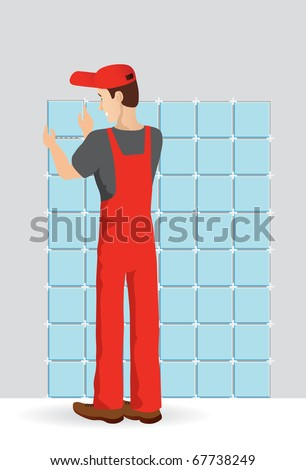 Man tiling a wall in the room - stock vector