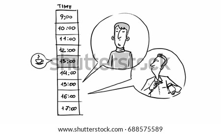 Man Timetable Vector Sketch Illustration Cartoon Stock Vector