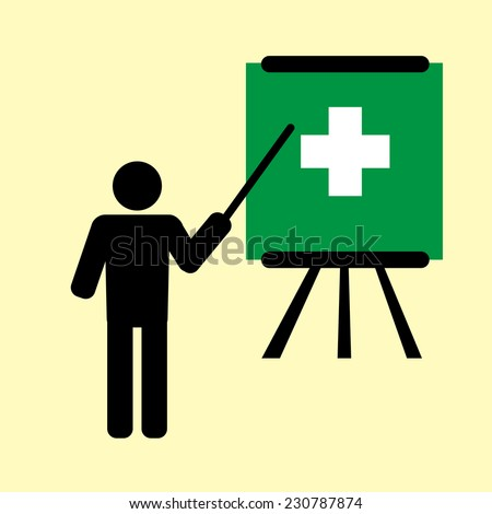 man training first aid  - stock vector