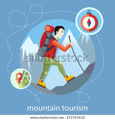 Man traveler with backpack hiking equipment walking in mountains. Mountain tourism concept in cartoon design style - stock vector