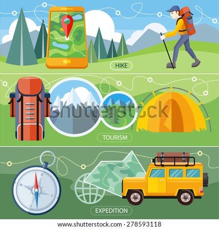 Man traveler with backpack hiking equipment walking in mountains. Off-road car with map and compass on road. Investigation untouched corners nature. Camping tourism tent near the forest and mountains - stock vector