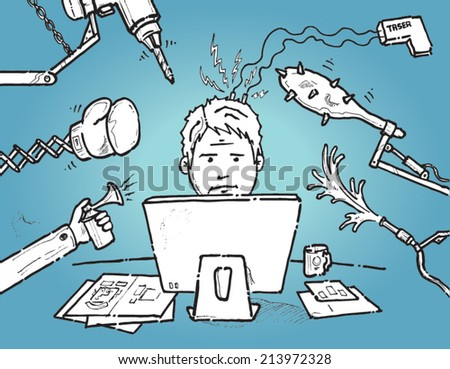 Man trying to cope with job stress - hand drawn vector concept - stock vector