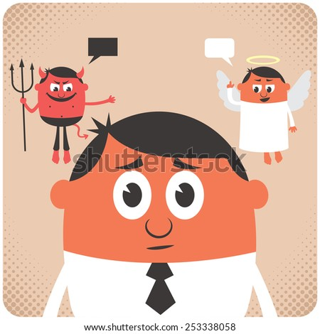 Man trying to make decision. Little angel and devil are giving him advice. No transparency used. Basic (linear) gradients. - stock vector