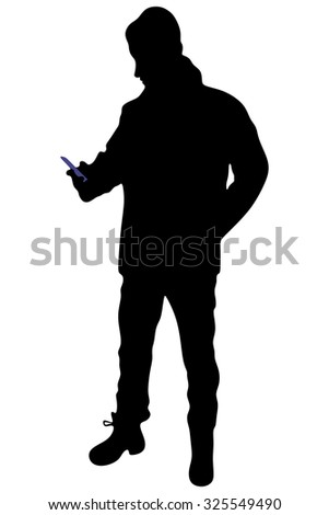man using smart phone mobile - stock vector