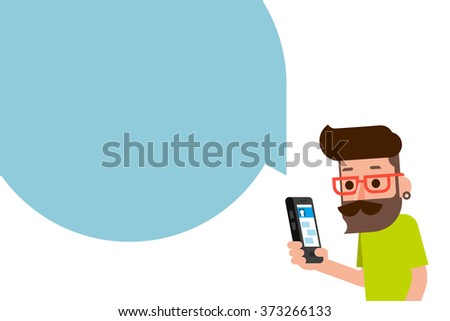 Man using smartphone flatdesign cartoon.