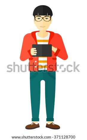 Man using tablet computer. - stock vector