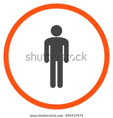 Man vector bicolor icon. Picture style is flat man rounded icon drawn with orange and gray colors on a white background.