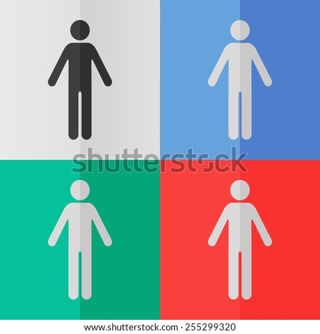 Man vector icon. Effect of folded paper. Colored (red, blue, green) illustrations. Flat design - stock vector