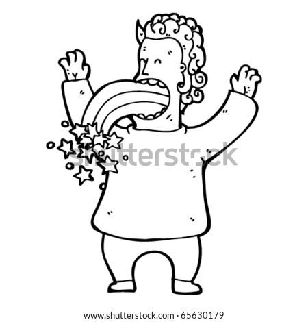 man vomiting crazy rainbow stars cartoon - stock vector