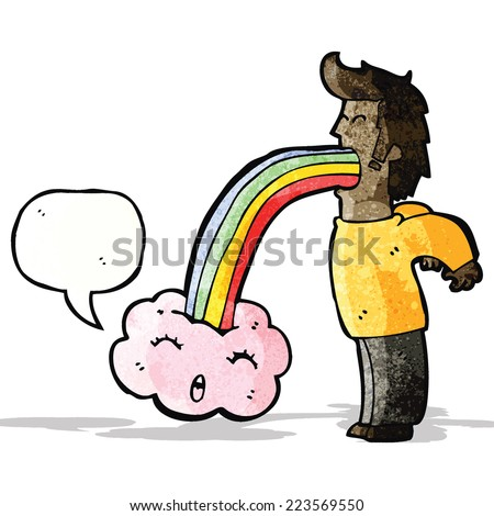 man vomiting out rainbow cartoon - stock vector