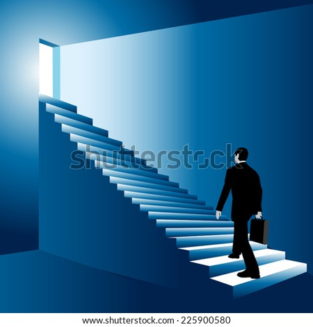 Man walking up the stairs to open doors. Vector illustration - stock vector