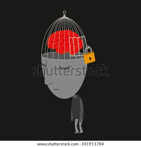 Man walking with locked brain feeling depressed - stock vector