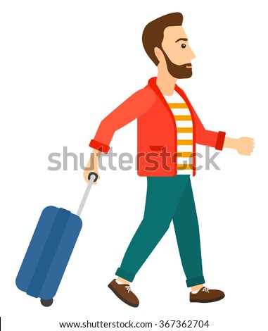 Man walking with suitcase. - stock vector
