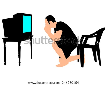 Man watching a game on TV, vector - stock vector