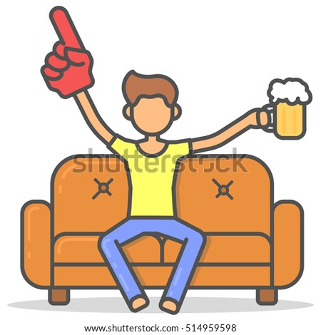 Man watching a sports match on couch with a glass of beer and big hand in room flat style. Vector character on sofa line illustration.