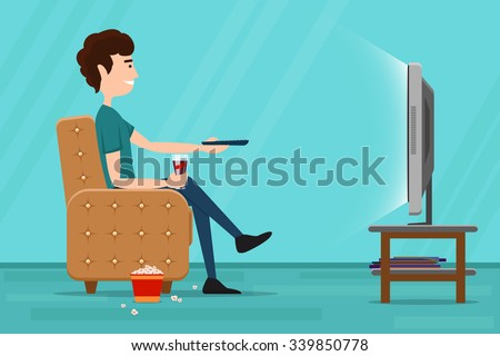 Man watching television on armchair. Tv and sitting in chair, drinking and eating. Vector flat illustration - stock vector