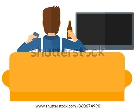 Man watching TV. - stock vector