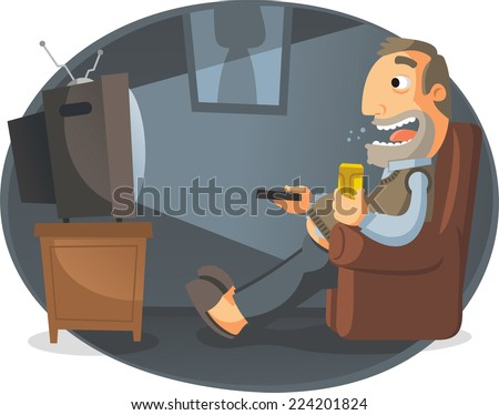 Man watching TV and drinking beer, noon, vector illustration. - stock vector