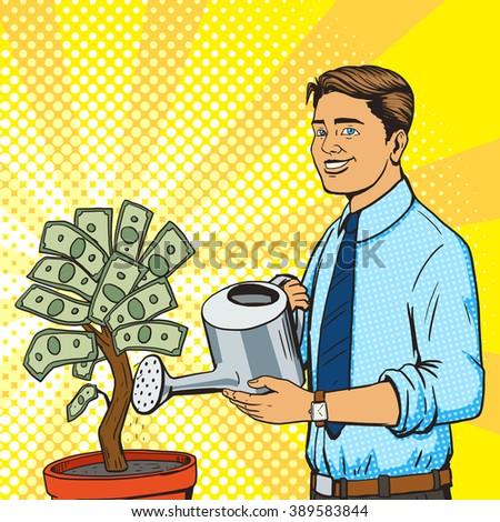 Man water money tree pop art style vector illustration. Human illustration. Comic book style imitation. Vintage retro style. Conceptual illustration - stock vector